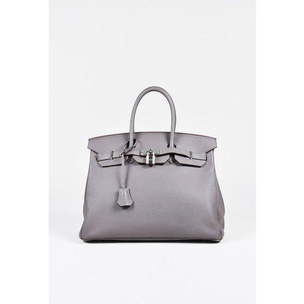 "Hermes 2014 ""Etain"" Togo Leather Palladium Hardware Birkin 35cm Bag ❤ liked on Polyvore featuring bags, handbags, white handbag, hermes handbags, hermès, real leather purses and real leather handbags"
