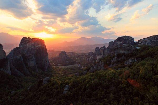 The suspended monasteries of Meteora near Sivota, Greece
