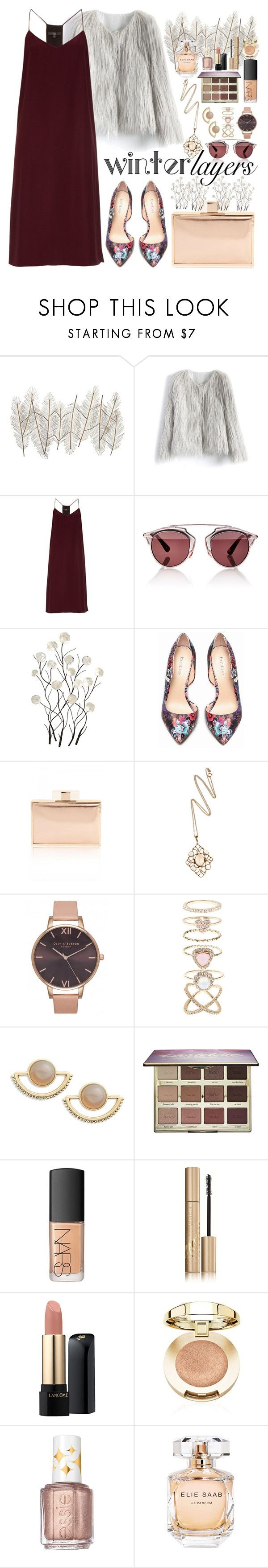 """Winter Layers: Slip Dress"" by saramsilva ❤ liked on Polyvore featuring Universal Lighting and Decor, Chicwish, TIBI, Christian Dior, Bebe, Olivia Burton, Accessorize, T+C by Theodora & Callum, tarte and NARS Cosmetics"