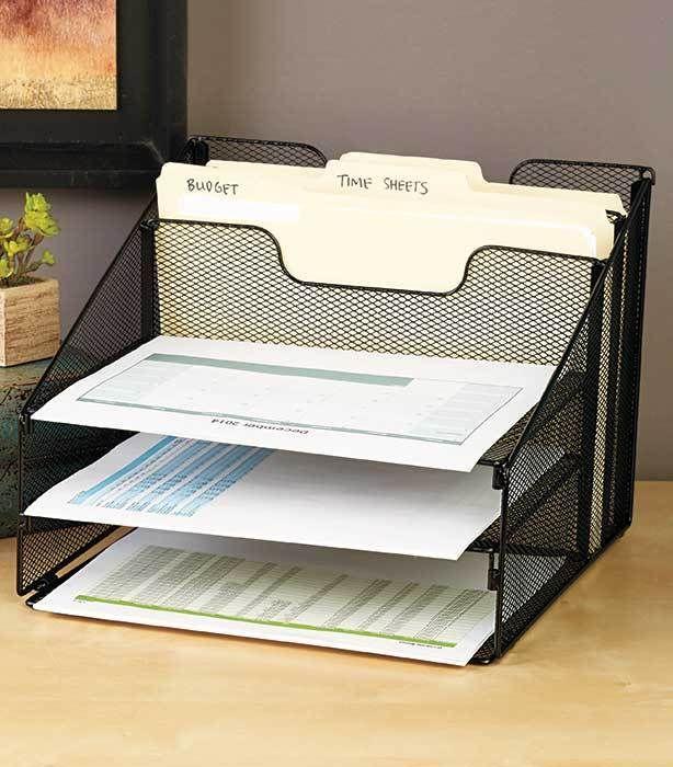 Black Mesh Desktop File Organizer W/5 Compartments Office Supply Storage Holder #UnbrandedGeneric