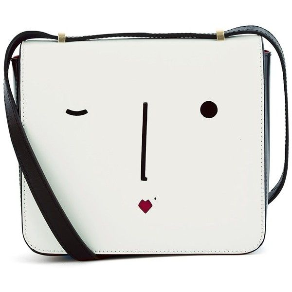 Lulu Guinness White Leather Marcie Face Bag found on Polyvore featuring bags, handbags, shoulder bags, bolsas, purses, white, leather shoulder handbags, crossbody purse, white purse and leather crossbody purse