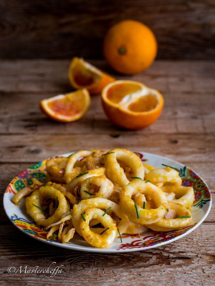 Calamari alle arance con erba cipollina