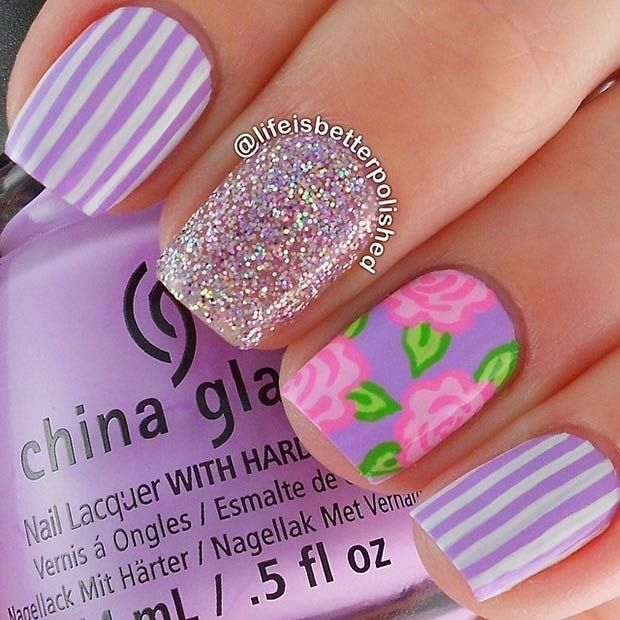 Purple Stripes + Pink Flowers + Silver Glitter Nail Design