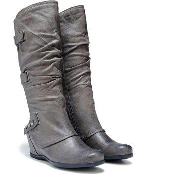2017 Neutral Bare Traps Quibella Wedge Boot Dark Grey