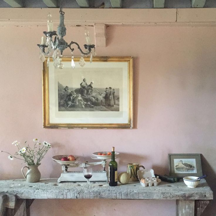 "Annie Sloan says, ""Antoinette - earthy pink with no blue in it! It's on my ancient walls in my kitchen in Normandy, France taken last summer. Looking soft, inviting and natural."" 