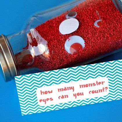 Monster party game idea:  How many eyes are in the jar?  Love this idea! Could use Barbie doll shoes for a girls party!