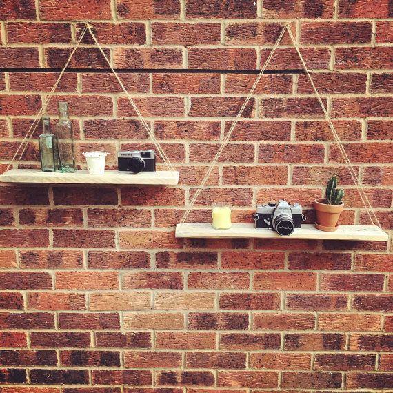 reclaimed pallet wood hanging shelves handmade furniture. Black Bedroom Furniture Sets. Home Design Ideas