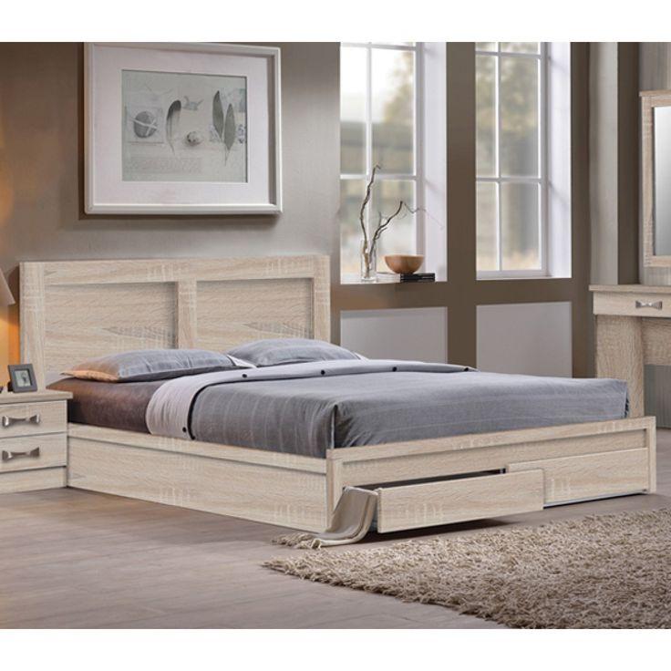 Κρεβάτι Pedro Διπλό 160x200 με 2 Συρτάρι Σημύδα