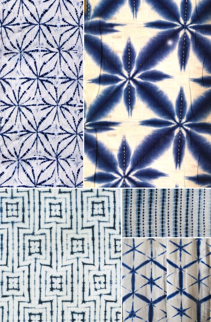 History of Surface Design: Shibori - Pattern Observer  Images via: (clockwise from top left) 1. unknown source via Pinterest; 2. via http://styleindicator.com ; 3. & 4. via  http://threads.srithreads.com ; 5. by shibori master Motohiko Katano via http://shibori.org