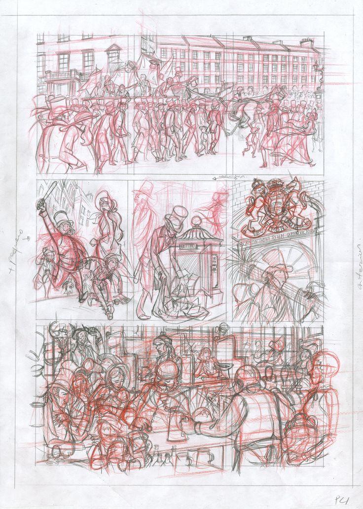 Página descartada 02: lápiz rojo y de grafito sobre papel dinA3: 100 € David Belmonte ©