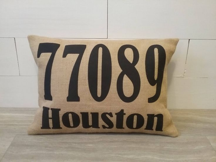 Outdoor burlap Zip Code pillow address number street name town by TheWestGarden on Etsy
