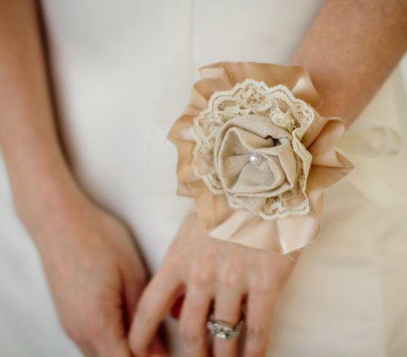 Fabric Flower Corsage -  Wedding, Vintage Wedding - Wedding Corsage, Fabric Corsage, Fabric Flower. $42.00, via Etsy.