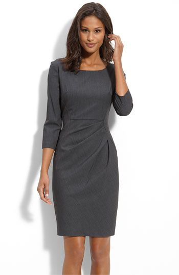 Calvin Klein Pleat Detail Sheath Dress...perfection. I need to find this dress. I have a similar one of his in sleeveless.