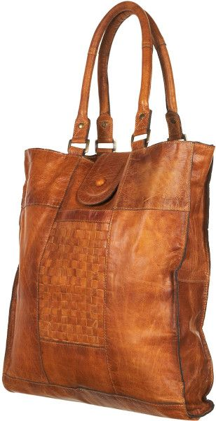 Topshop Brown Leather Woven Panel Tote Bag