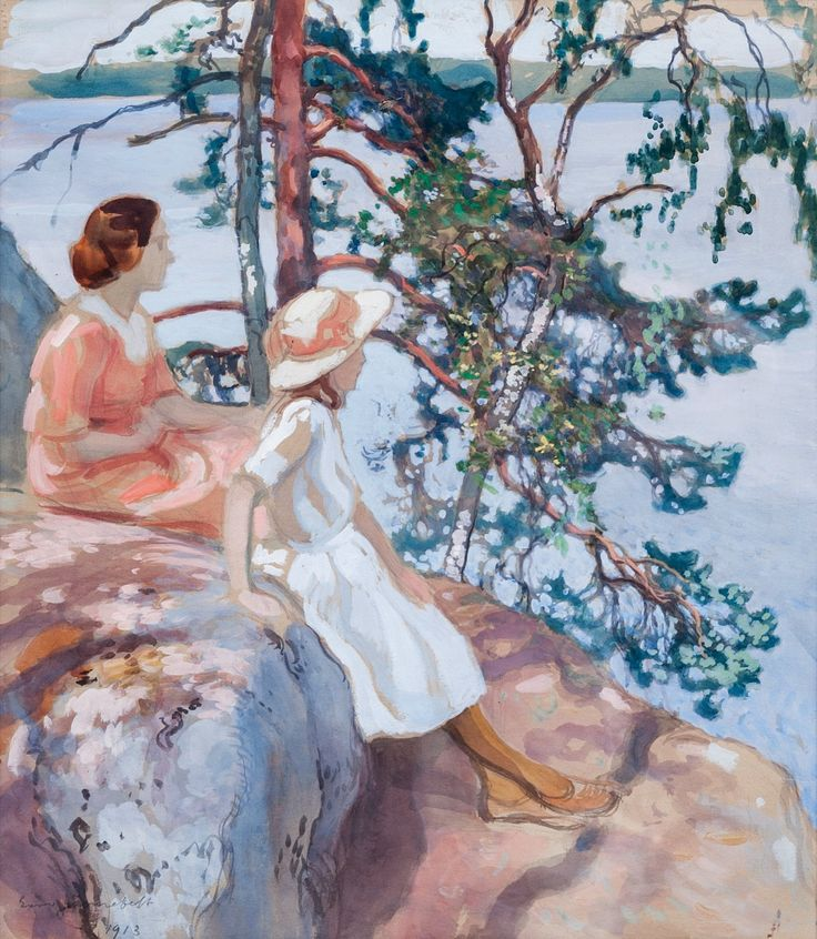 Family Outing - Eero Järnefelt , 1913 Finnish, 1863-1937. Gouache 46x40 cm.