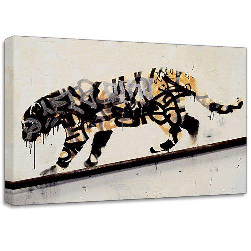 "Banksy Tiger Spray Small 12""x8"" Wall Graffiti Canvas Art Print Poster: Amazon.co.uk: Kitchen & Home"
