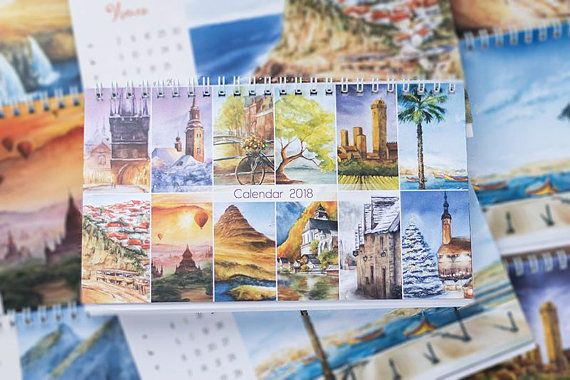 2018 Desk and Wall calendars that include my watercolor paintings :) This calendar is dedicated to landscapes that Ive visited or to some places in the world that Id like to visit. And each season of the painting corresponds with the pictured month.  The szie of desk calendar is 210 x 120 #calendar #calendar2018 #2018 #календарь #календарь2018 #календарьдомик #deskcalendar