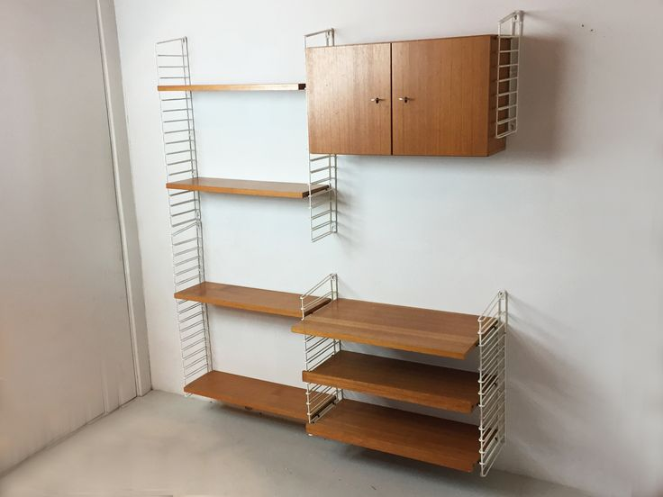 Mid Century Teak and Metal German Wall Shelving System 1970s
