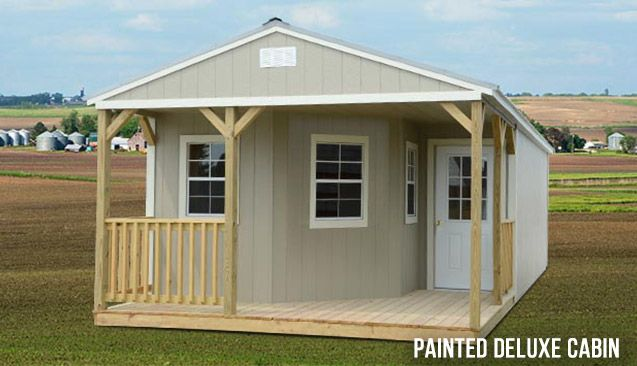 Painted Deluxe Cabin - Prefab Cabins for Sale in Spring Hill, TN - Spring Hill Sheds