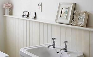 Love the white wood panelling - hadn't thought about it becoming a shelf in the bathroom! Not sure if that's a good idea or not in a small bathroom though.