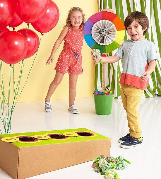 Turn a cardboard box into a target for a homemade bean bag toss game. Get instructions: http://www.parents.com/fun/birthdays/ideas/diy-beanbag-toss/?socsrc=pmmpin130417ffBeanbagToss