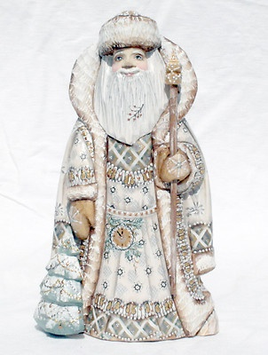 White Christmas SANTA w/ Christmas Tree Russian Wooden Hand Carved Hand Paint