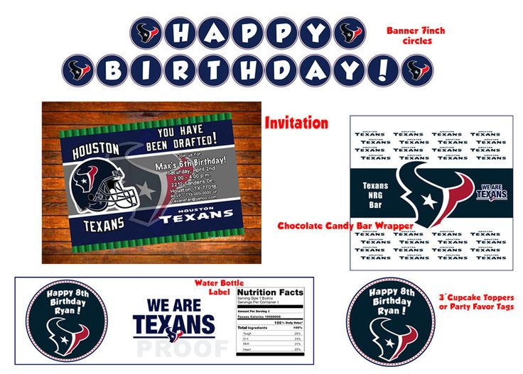 Houston Texans- Digital Download - Invitation, Banner, Party Favor Tags/Cupcake Toppers, Water Labels & Candy Labels by SoyGuadalupana on Etsy
