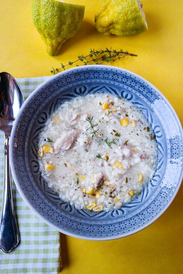 Zitronen-Mais-Suppe mit Huhn und Reis
