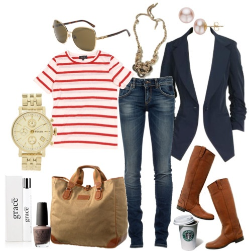 All-American look: Stripes Mondays, Red Stripes, Navy Blazers, Fashion Style, Red White Blue, Blue Blazers, Riding Boots, Classic Style, Black Blazers