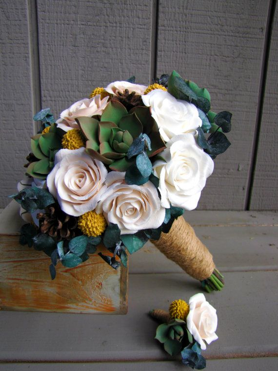 Rustic Wedding Bouquet And Boutonniere With Succulents Roses Billy Balls Pine Cones