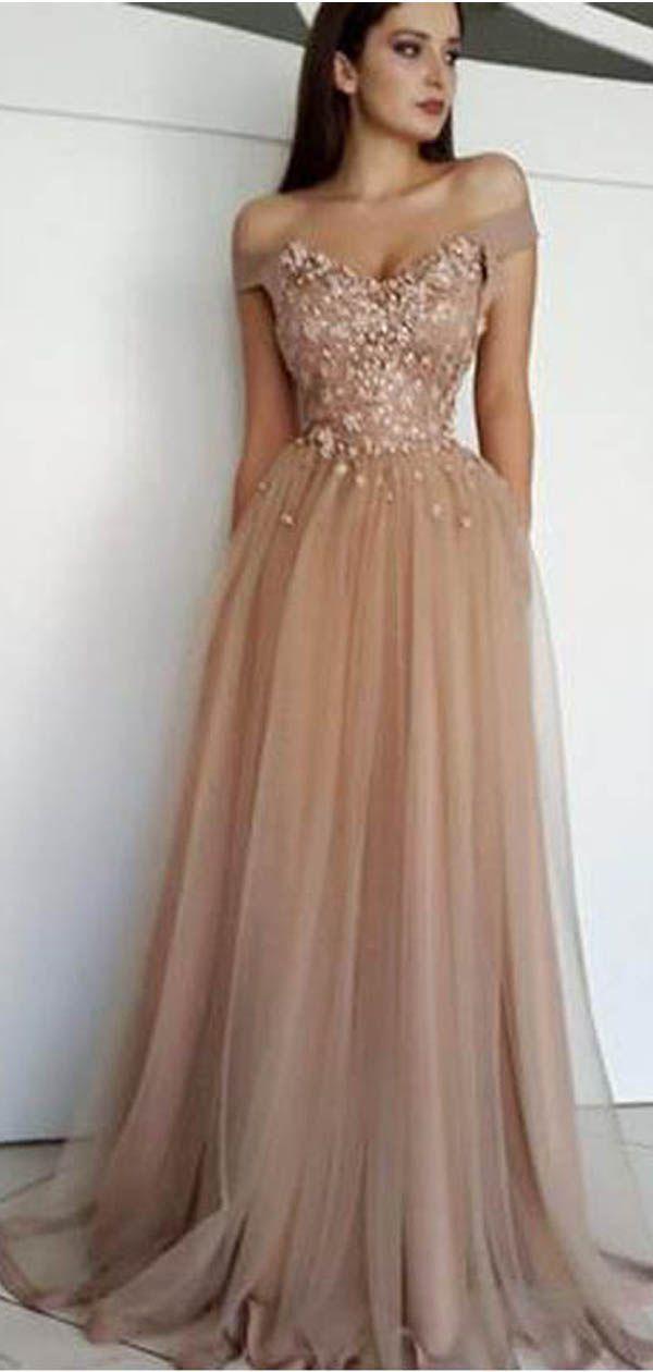 Schulterfrei Spitze Perlen Günstige Lange Abendkleider Günstige Sweet 16 Kleider Kleid