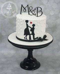 – pontycarlocakes.c… #Engagementcake, #Monogram, #Pontycarlocakes, #Silhouette – pastry