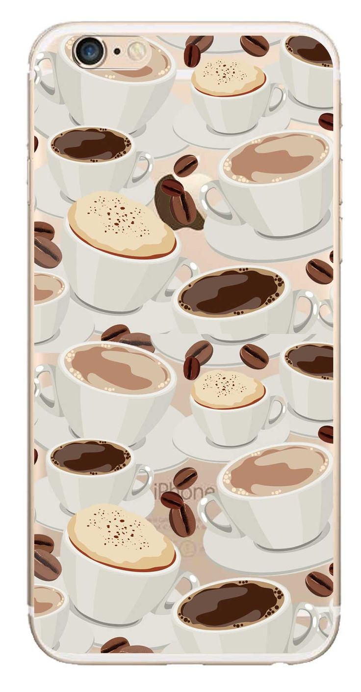 Whatskin DIY Style Coffee and Beans Clear Back Cover for iphone 6