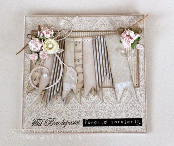 Shabby chic wedding card with Pion Design