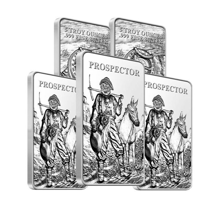Lot of 5 - Prospector 5 oz Silver Bar .999 Fine (Sealed)