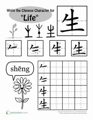 "The Chinese character for ""life"" is a picture of a sprouting plant. Have your child try her hand at creating some beautiful Chinese calligraphy!"