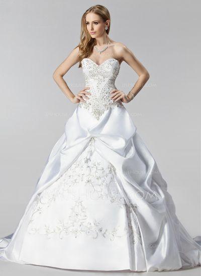 Wedding Dresses - $424.49 - Ball-Gown Sweetheart Chapel Train Satin Wedding Dress With Embroidery Ruffle Beadwork (002000485) http://jjshouse.com/Ball-Gown-Sweetheart-Chapel-Train-Satin-Wedding-Dress-With-Embroidery-Ruffle-Beadwork-002000485-g485