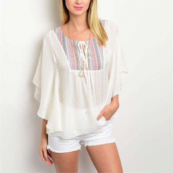 Beautiful white boho flutter style top! LAST M! Tie front - pretty, feminine flutter sleeves beautiful embroidery at top! Welcome spring! Tops Blouses
