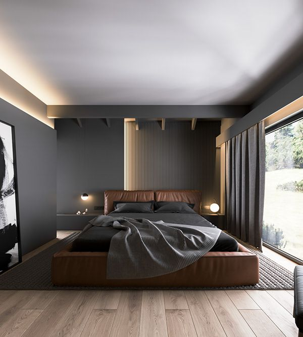 Bedroom In Contemporary Style On Behance: Minimalist Living Room Decor