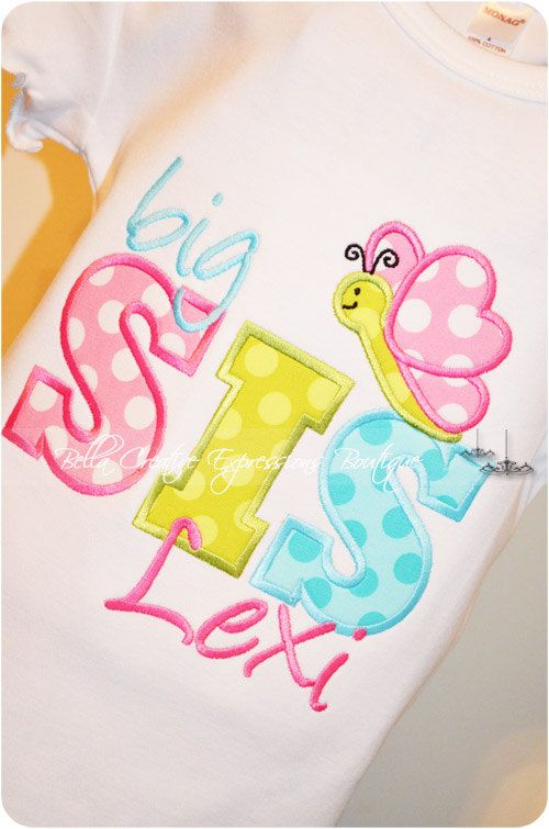 Big Sis or Lil Sis Butterfly Appliqued Onesie or Shirt. $24.00, via Etsy.