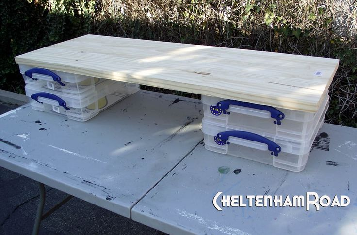 use the transport and storage boxes for shelf support - then cover w cloth - in my case use wine crates
