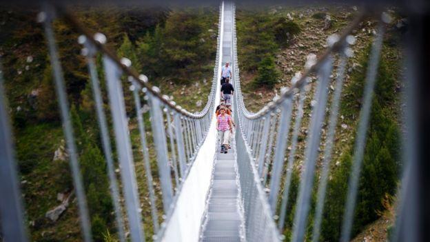 World's longest suspended pedestrian bridge opened in Switzerland