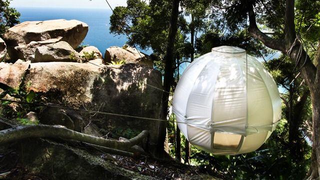 キャンプや野外フェスでこんなテントが使えたら、俄然テンション上がりますなー!森の中に浮かぶ、繭のような球体テント「コクーンツリー(Cocoo...