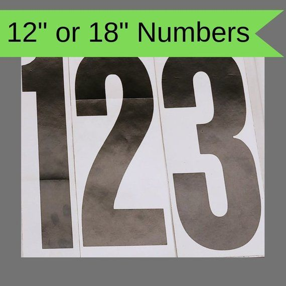 12 18 Vinyl Number Decals Black Ink Screen Etsy Screen Printing Vinyl Lettering