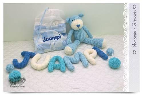 Guirnalda Cartel Con Nombre De Bebé Tejido Crochet 6 Letras
