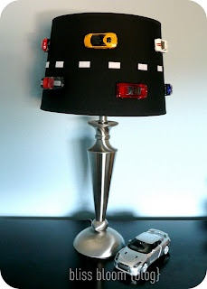 Upcycled car lamp for the kid! Can probably do something with Lightening McQueen for Franklyn's room with this idea!!