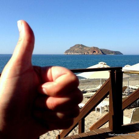Thumbs up for Platanias beach @Crete, Greece