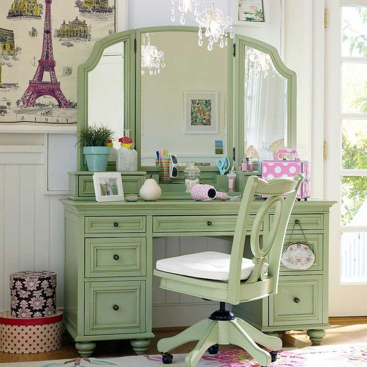 ... awesome green dressing table for girl bedroom design with drawer storage underneath as well swivel chair ...