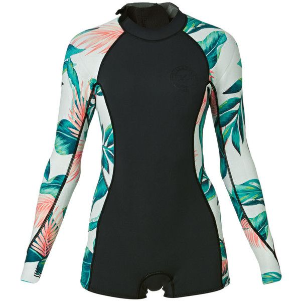 Billabong Womens Spring Fever 2mm Back Zip Long Sleeve Shorty Wetsuit... ❤ liked on Polyvore featuring tops, wet suit, wetsuit top, billabong, long sleeve tops and zip back top