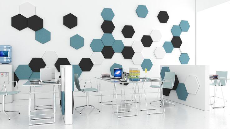 Pomysł na przestrzeń biurową z wykorzystaniem Fluffo (kolekcja HEXA) - miękkie panele ścienne 3D aksamitne w dotyku.